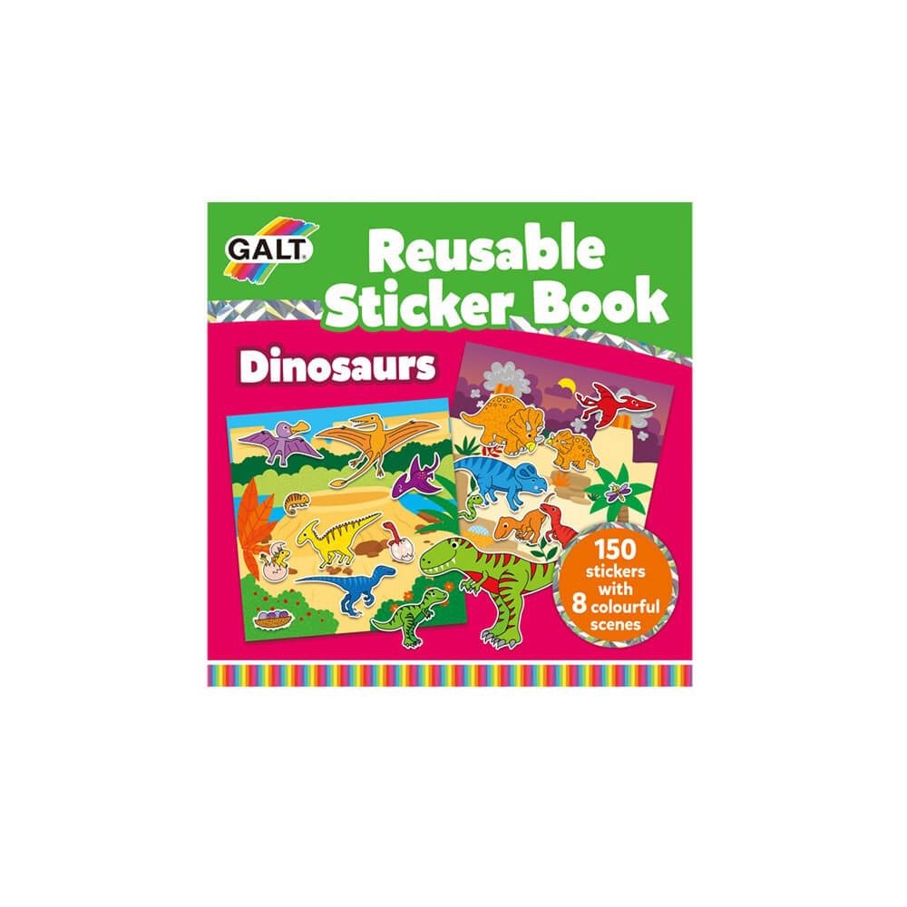 Galt 1005101 Reusable Sticker Book - Dinosaurs 3 Yaş+